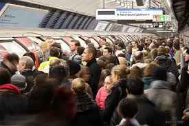 crowded london tube